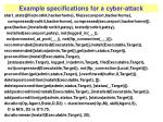 example specifications for a cyber attack