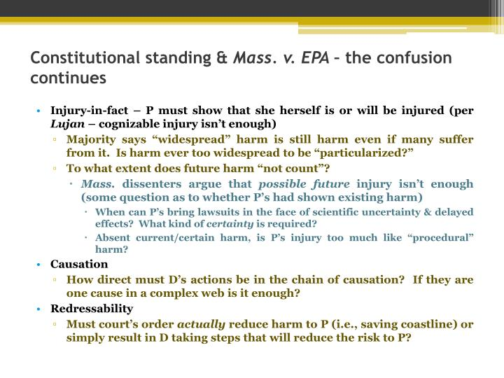 constitutional standing mass v epa the confusion continues n.