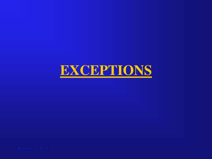 exceptions n.