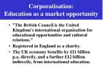 corporatisation education as a market opportunity