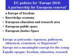 eu policies for europe 2010 a partnership for european renewal