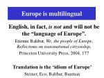 europe is multilingual