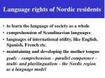 language rights of nordic residents