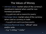 the values of money