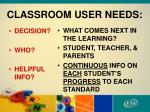 classroom user needs