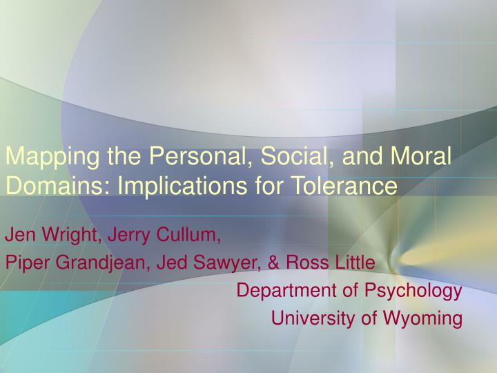 mapping the personal social and moral domains implications for tolerance n.