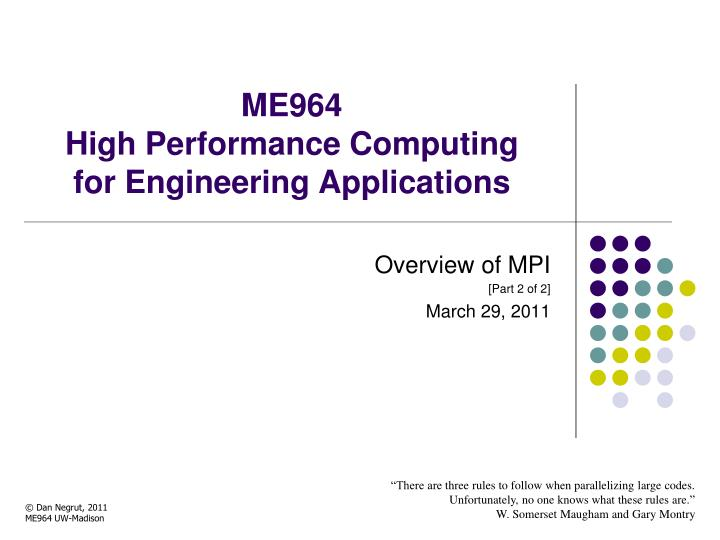 me964 high performance computing for engineering applications n.