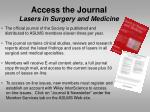 access the journal lasers in surgery and medicine