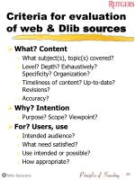 criteria for evaluation of web dlib sources