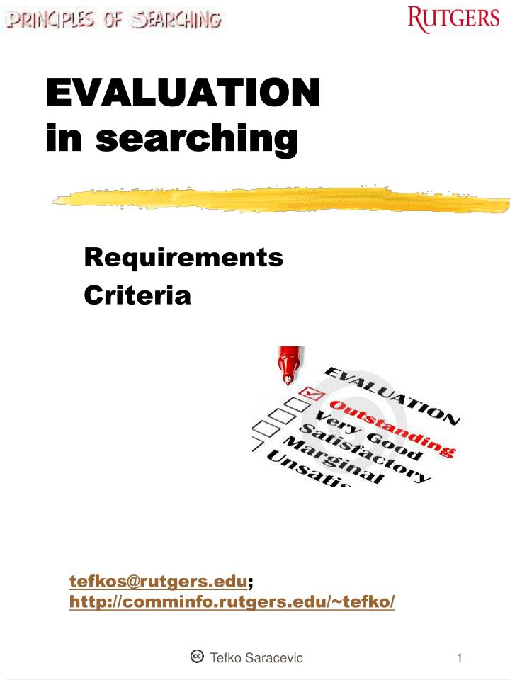 evaluation in searching n.