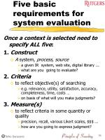 five basic requirements for system evaluation