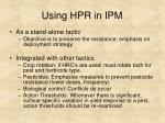 using hpr in ipm