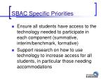 sbac specific priorities