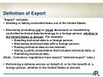definition of export