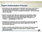 export authorization process