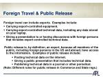 foreign travel public release