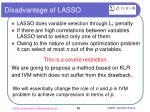 disadvantage of lasso