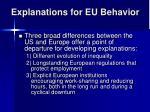 explanations for eu behavior