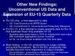other new findings unconventional us data and extension of eu 15 quarterly data