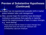preview of substantive hypotheses continued