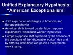 unified explanatory hypothesis american exceptionalism