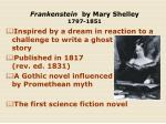 frankenstein by mary shelley 1797 1851
