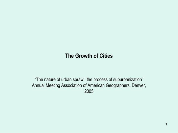 the growth of cities n.