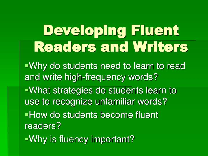 developing fluent readers and writers n.