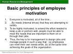 basic principles of employee motivation
