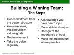building a winning team the steps