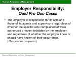 employer responsibility quid pro quo cases