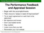 the performance feedback and appraisal session1