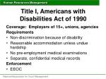 title i americans with disabilities act of 1990