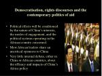 democratisation rights discourses and the contemporary politics of aid