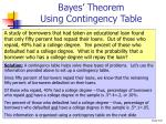 bayes theorem using contingency table