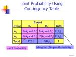 joint probability using contingency table