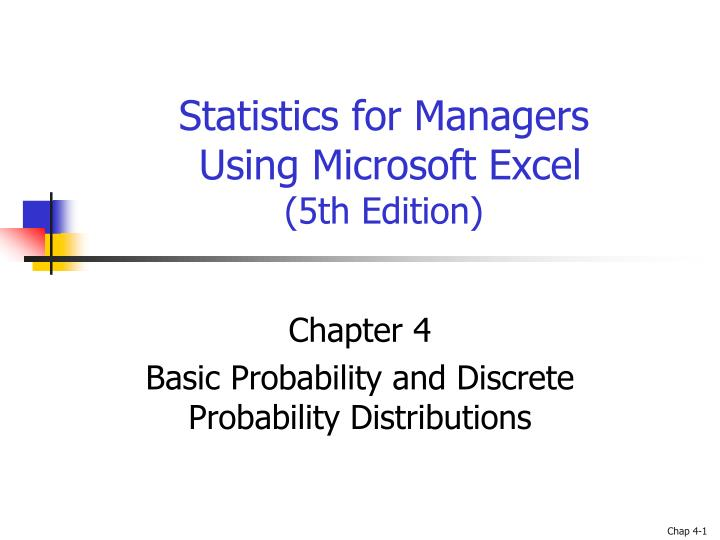 statistics for managers using microsoft excel 5th edition n.