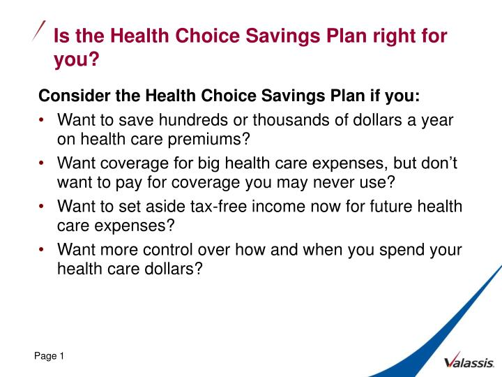 is the health choice savings plan right for you n.