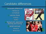 candidate differences