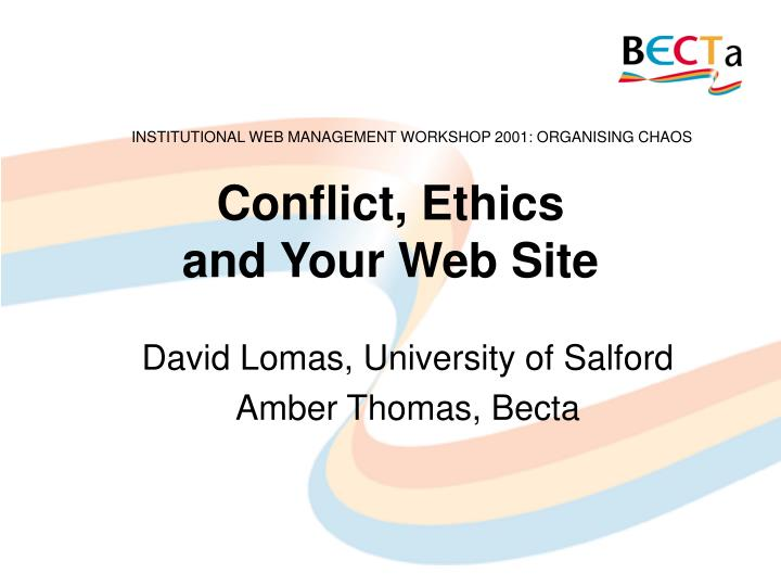 conflict ethics and your web site n.