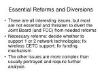 essential reforms and diversions