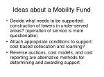 ideas about a mobility fund