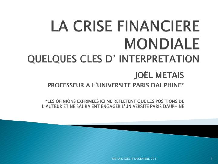 la crise financiere mondiale quelques cles d interpretation n.