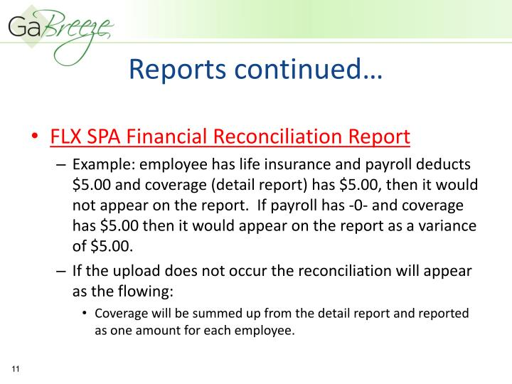 Reports continued…