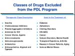 classes of drugs excluded from the pdl program