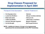 drug classes proposed for implementation in april 2004