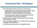 turnaround time pa request