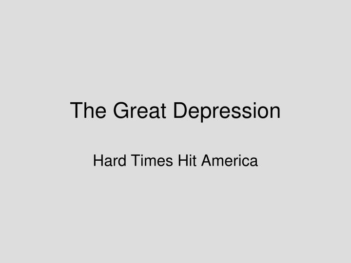 the great depression n.