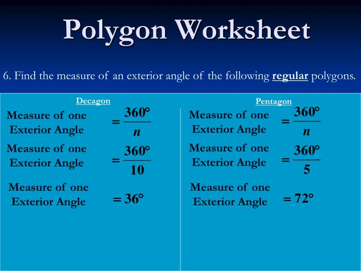Find The Measure Of An Exterior Angle Of The Following Regular Polygons.