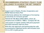 6 recommended strategy policy to be followed to achieve the set targets quickly